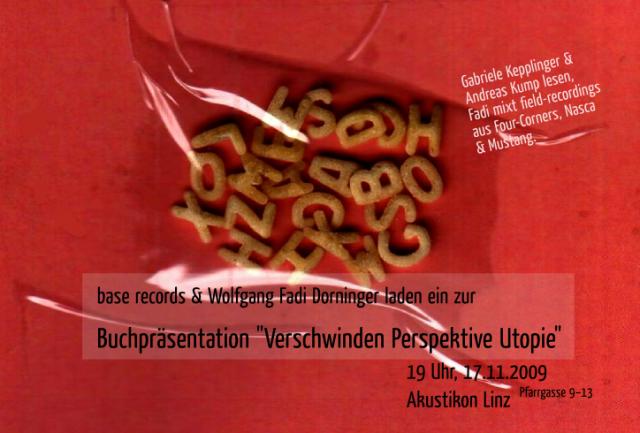 """Flyer: Buchpräsentation """"Verschwinden Perspektive Utopie"""""""